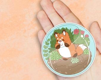 Kawaii Fox in Terrarium Planter Sticker