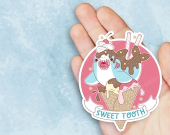 Kawaii Sweet Tooth Shark Ice Cream Sticker
