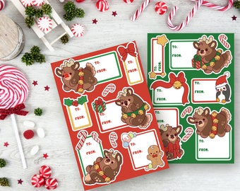 Reindeer Nuggets Christmas Gift Tag Sticker Sheets
