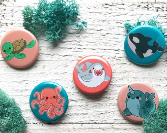 Kawaii Ocean Animals Pinback Buttons or Magnets