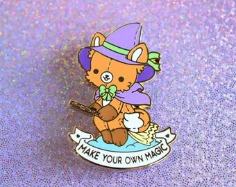 Make Your Own Magic Fox Witch - Kawaii Enamel Pin - Self Care Plushie Pals