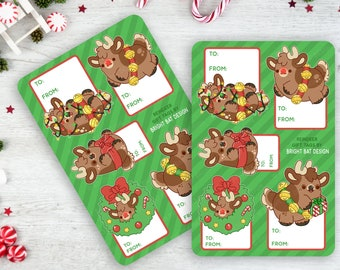 2 Pack - Kawaii Reindeer Gift Tag Sheets