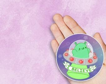 Kawaii I Believe Alien UFO Space Nugget Sticker