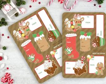 2 Pack - Kawaii Holiday Sweets Gingerbread Gift Tag Sheets