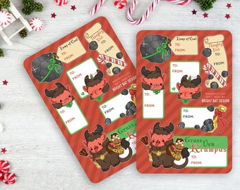 2 Pack - Kawaii Krampus Naughty Gift Tag Sheets