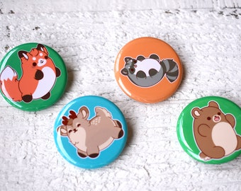 Kawaii Forest Animals Pinback Buttons or Magnets
