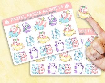 2 Pack - Kawaii Pastel Panda Nuggets Sticker Sheets