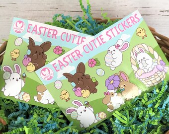 2 Pack - Kawaii Easter Bunny Nuggets Sticker Sheets