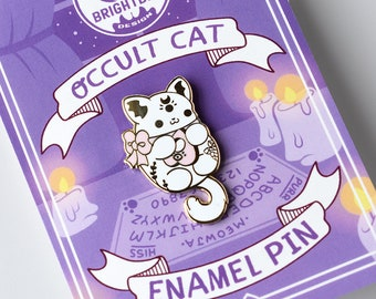 Kawaii Occult Cat Enamel Pin  ( White and Pink Version )