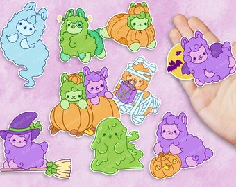 Kawaii Halloween Alpacas Sticker Set