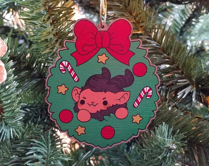 Featured listing image: Kawaii Krampus Nugget Wooden Christmas Tree Ornament