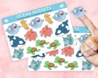 2 Pack - Kawaii Ocean Animals Nuggets Sticker Sheets