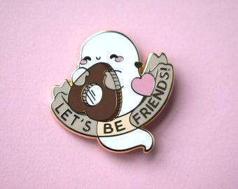Lets Be Friends Ouija Ghost Enamel Pin