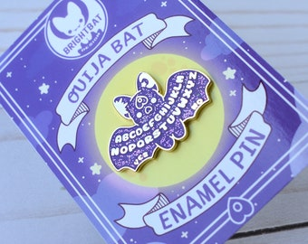 Kawaii Purple Glitter Ouija Board Bat Enamel Pin