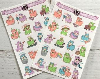 2 Pack - Kawaii Planner Alpacas Sampler Sticker Sheets