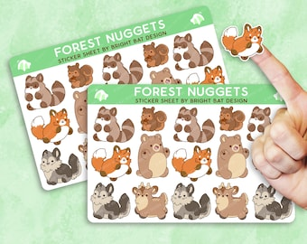 2 Pack - Kawaii Forest Animals Nuggets Sticker Sheets
