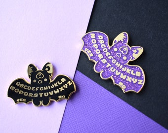 Kawaii Ouija Board Bat Enamel Pins ( Purple Glitter & Black )
