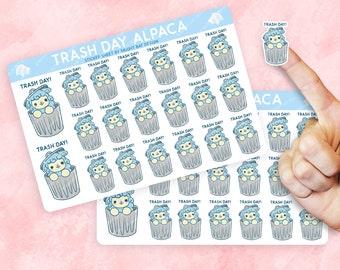 2 Pack - Kawaii Trash Day Alpaca Planner Sticker Sheets