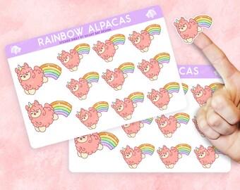 2 Pack - Kawaii Magical Rainbow Alpaca Planner Sticker Sheets