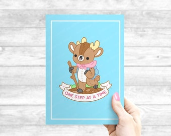 One Step At A Time Deer - Kawaii Illustration Print - Self Care Plushie Pals