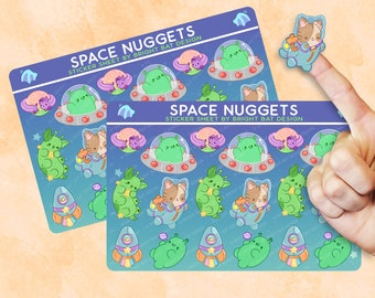 2 Pack - Kawaii Space Nuggets Sticker Sheets