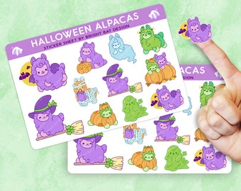 2 Pack - Kawaii Halloween Alpacas Sticker Sheets