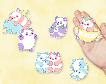 Kawaii Pastel Panda Nugget Stickers