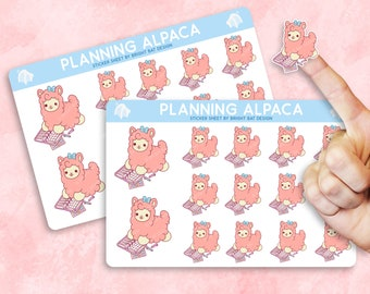 2 Pack - Kawaii Planning Alpaca Sticker Sheets