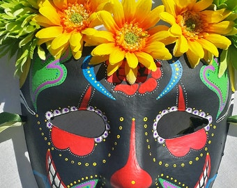 Full Face Mayan Mask Hand Painted with Vibrant Colors, Flowers, and Ribbons in Juggalo Style which is Very Colorful and Highly Detailed