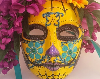 Hand Painted Masquerade Mask - Mysterious Wisteria