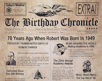 70th Birthday Gifts Personalized Headline News Print Time Capsule Newsletter Style 1949 Gift Chronicle Milestone