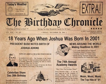 18th Birthday Gifts Personalized Headline News Print Time Capsule Newsletter Style Born In 2001 Chronicle 18 Years Old Party
