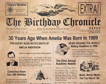 30th Birthday Gifts Personalized Headline News Print Time Capsule Newsletter Style 1989 Gift Chronicle Milestone