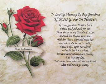 In Memory Of Grandmother Sympathy Gift If Roses Grow In Etsy