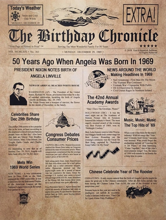 photo about Free Printable Birthday Chronicle named 50th Birthday Presents, Tailored, Headline Information Print, Period Capsule, Publication Structure, 1969 Birthday Present, Chronicle, 50th Milestone Presents