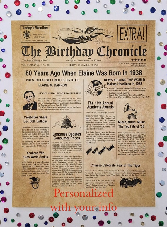Birthday Gifts Personalized Gift Headline News Print Time