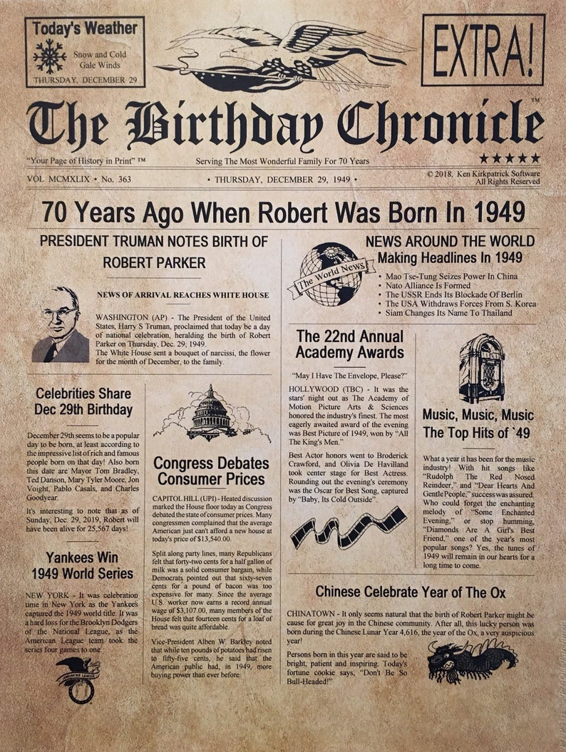 70th Birthday Gifts Personalized Headline News Print Time