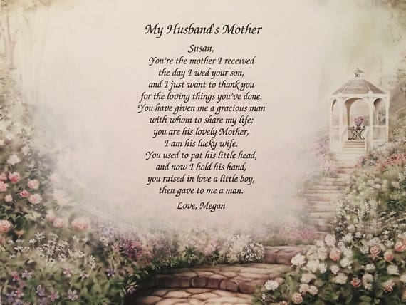 Birthday Gift Mother In Law For Husbands Personalized From Daughter Poem