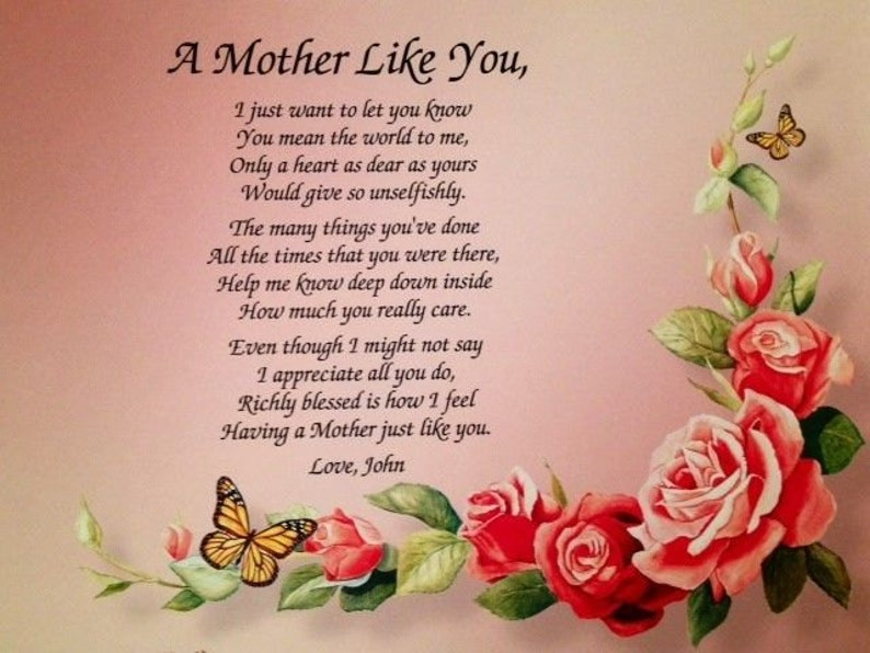 Birthday Gifts For Mom Mothers Day Gift Mother Daughter Son Sentimental From Poem