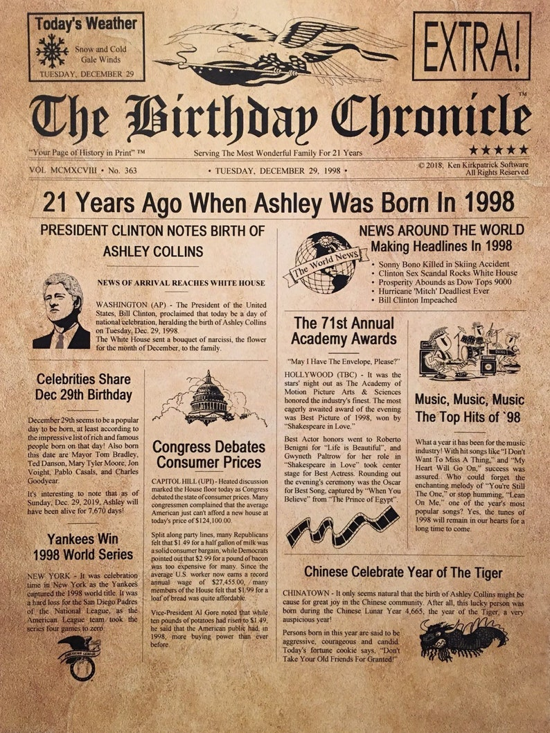21st Birthday Gifts, Personalized, Headline News Print, Time Capsule,  Newsletter Style, 1998 Birthday Gift, Chronicle, 21st Birthday Display