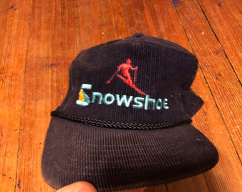 8d560376d2a Vintage Snowshoe Mountain skiing snowboarding hat winter sports corduroy