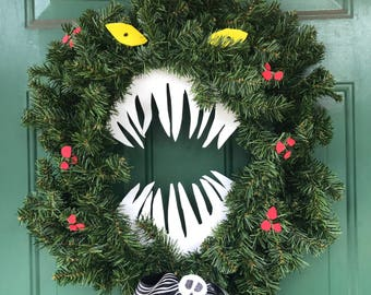 nightmare before christmas inspired monster wreath perfect size for door 24 - The Nightmare Before Christmas Decorations