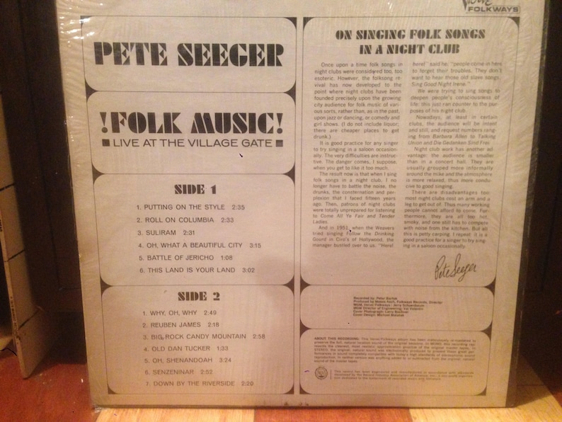 Pete Seeger - Folk Music! - Live At The Village Gate - Vinyl