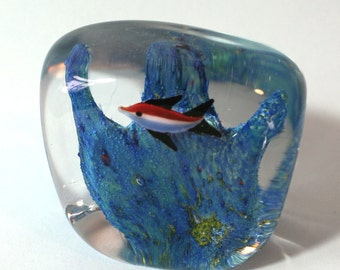 Glass Art Bubble Paperweight with Two Fish