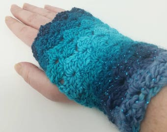 Wrist warmers, fingerless mittens, fingerless gloves, crocheted