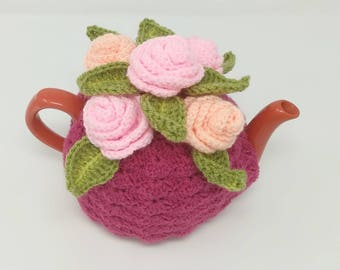 Tea cosy cozy teapot cosy, teapot cover, flower cosy, roses crochet crocheted custom gift floral