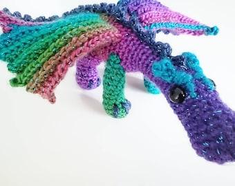 Sparkly rainbow dragon soft toy stuffy