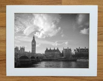 Big Ben photograph. Westminster / Embankment, and Thames River. London, England. Matted London art print.