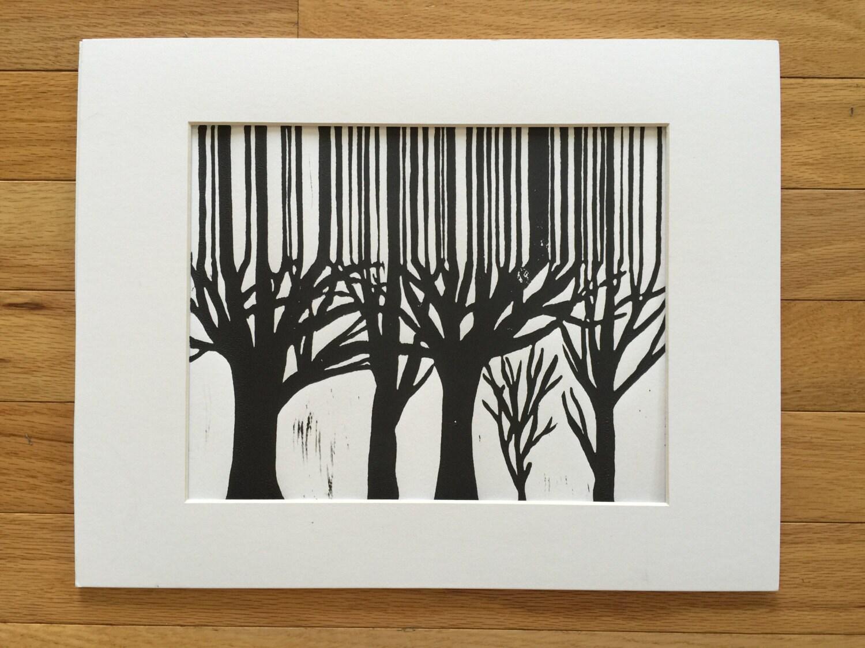 8 x 10 abstrakte Wald Linolschnitt Block print Hand | Etsy