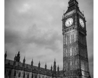 Big Ben with clouds photograph. London, England. Westminster, Embankment, Houses of Parliament. Multiple sizes available.